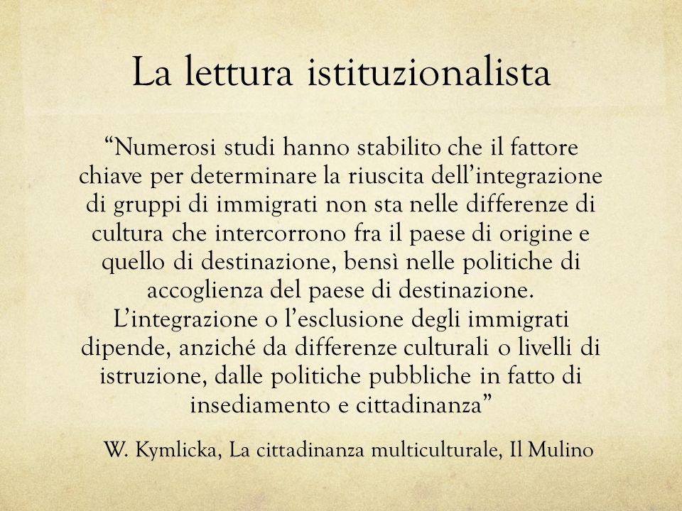 La lettura istituzionalista Numerosi studi hanno stabilito che il fattore chiave per determinare la riuscita dellintegrazione di gruppi di immigrati n
