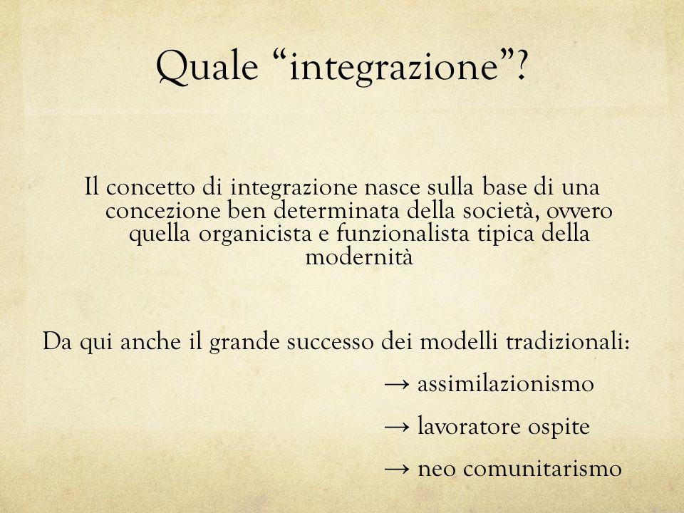 Quale integrazione? Il concetto di integrazione nasce sulla base di una concezione ben determinata della società, ovvero quella organicista e funziona