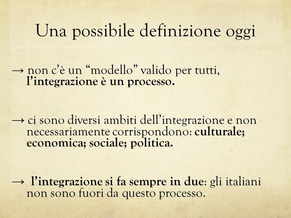 Una possibile definizione oggi non cè un modello valido per tutti, lintegrazione è un processo. ci sono diversi ambiti dellintegrazione e non necessar