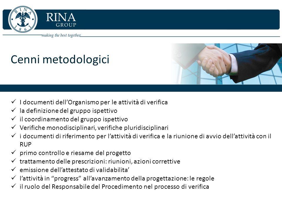 Cenni metodologici I documenti dellOrganismo per le attività di verifica la definizione del gruppo ispettivo il coordinamento del gruppo ispettivo Ver