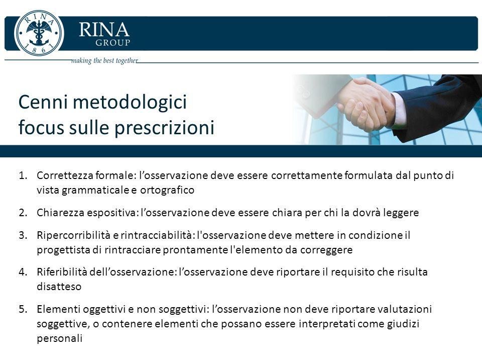 Cenni metodologici focus sulle prescrizioni 1.Correttezza formale: losservazione deve essere correttamente formulata dal punto di vista grammaticale e