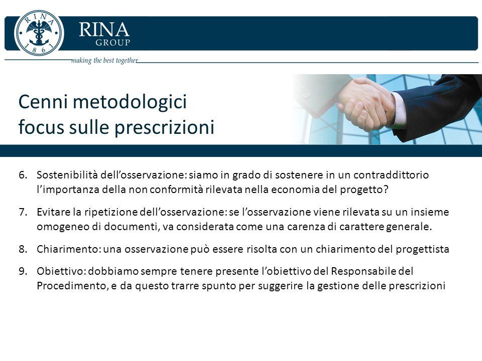 Cenni metodologici focus sulle prescrizioni 6.Sostenibilità dellosservazione: siamo in grado di sostenere in un contraddittorio limportanza della non