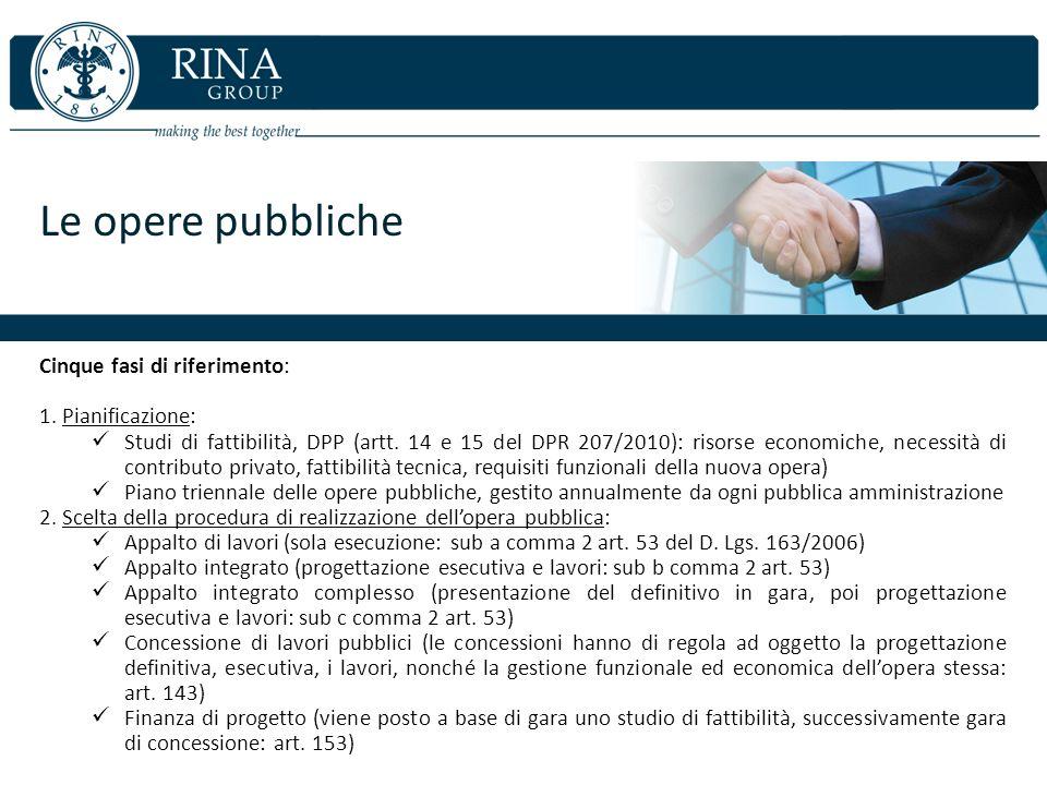 Le opere pubbliche Cinque fasi di riferimento: 1. Pianificazione: Studi di fattibilità, DPP (artt. 14 e 15 del DPR 207/2010): risorse economiche, nece