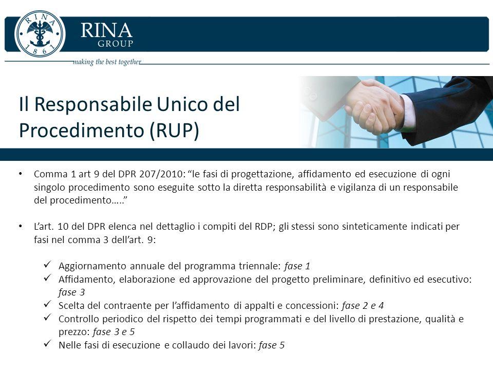 Il Responsabile Unico del Procedimento (RUP) Comma 1 art 9 del DPR 207/2010: le fasi di progettazione, affidamento ed esecuzione di ogni singolo proce