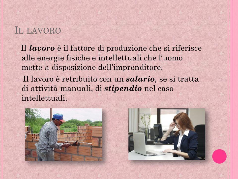 I L LAVORO Il lavoro è il fattore di produzione che si riferisce alle energie fisiche e intellettuali che luomo mette a disposizione dellimprenditore.