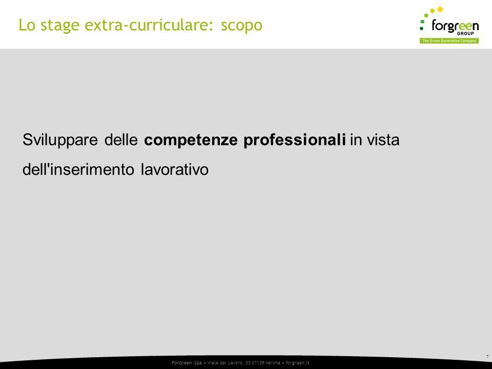 7 ForGreen Spa Viale del Lavoro, 33 37135 Verona forgreen.it 7 Sviluppare delle competenze professionali in vista dell inserimento lavorativo Lo stage extra-curriculare: scopo
