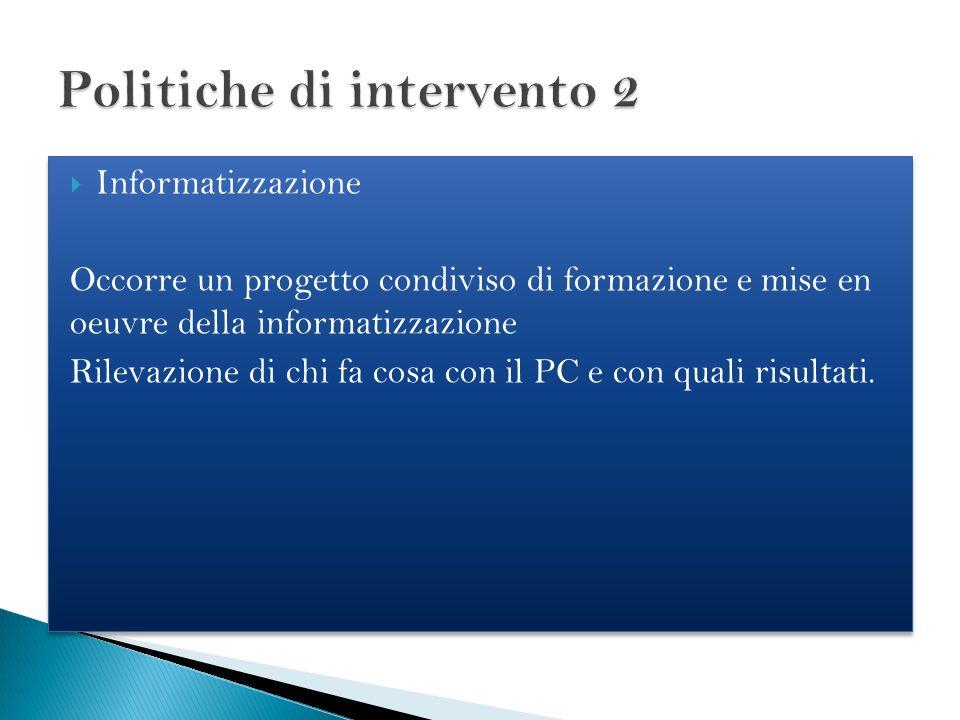 Informatizzazione Occorre un progetto condiviso di formazione e mise en oeuvre della informatizzazione Rilevazione di chi fa cosa con il PC e con qual