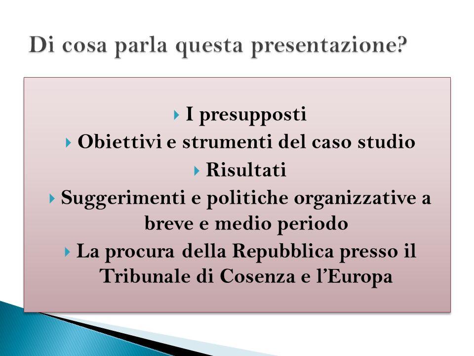 I presupposti Obiettivi e strumenti del caso studio Risultati Suggerimenti e politiche organizzative a breve e medio periodo La procura della Repubbli