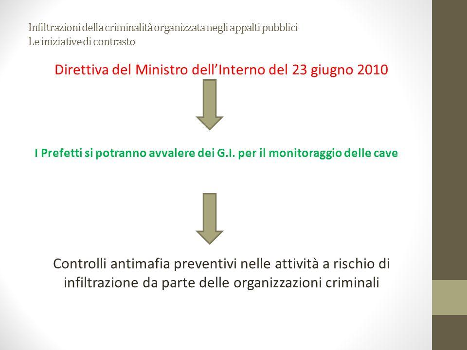 Infiltrazioni della criminalità organizzata negli appalti pubblici Le iniziative di contrasto Direttiva del Ministro dellInterno del 23 giugno 2010 I