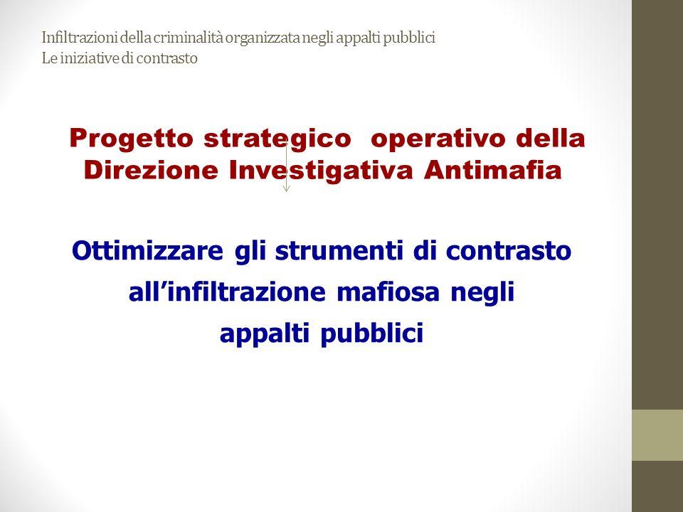 Infiltrazioni della criminalità organizzata negli appalti pubblici Le iniziative di contrasto Progetto strategico operativo della Direzione Investigat