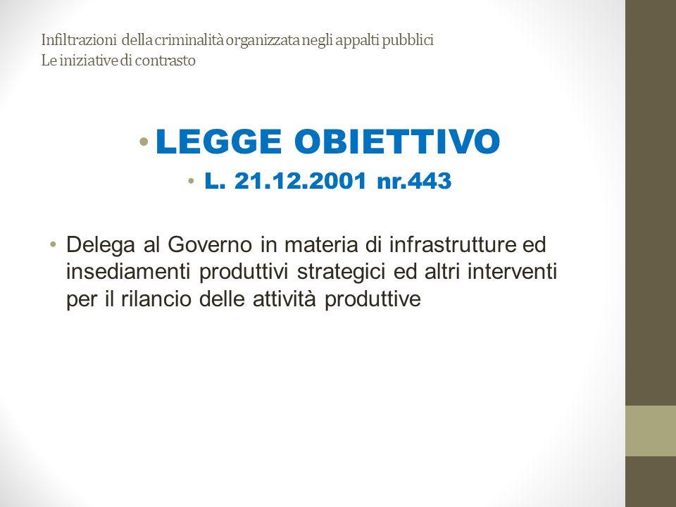 Infiltrazioni della criminalità organizzata negli appalti pubblici Le iniziative di contrasto LEGGE OBIETTIVO L. 21.12.2001 nr.443 Delega al Governo i