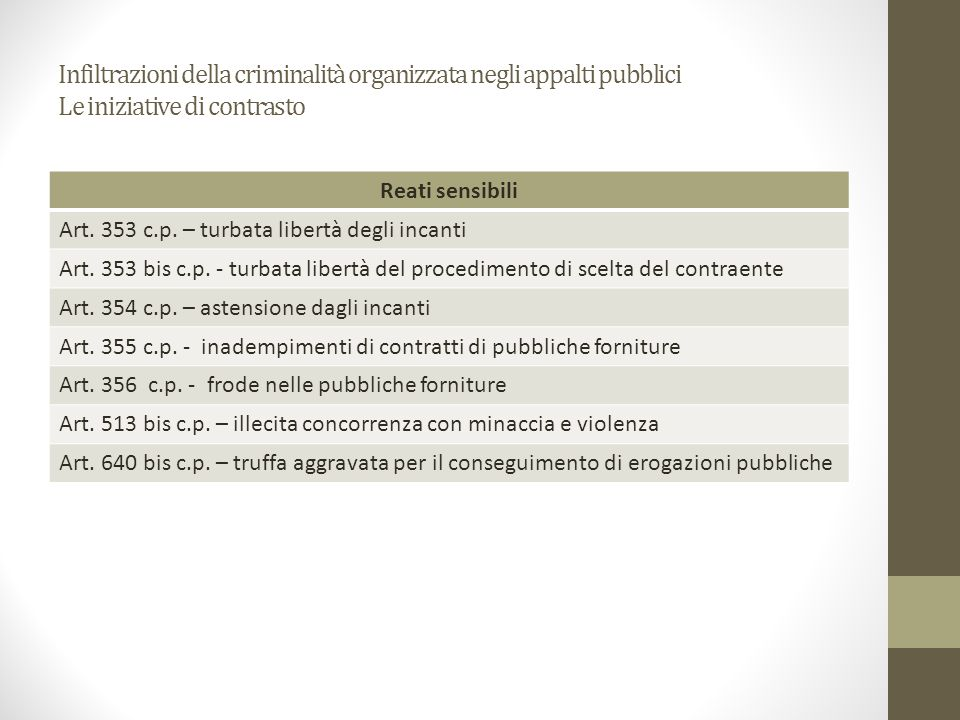 Infiltrazioni della criminalità organizzata negli appalti pubblici Le iniziative di contrasto Reati sensibili Art. 353 c.p. – turbata libertà degli in