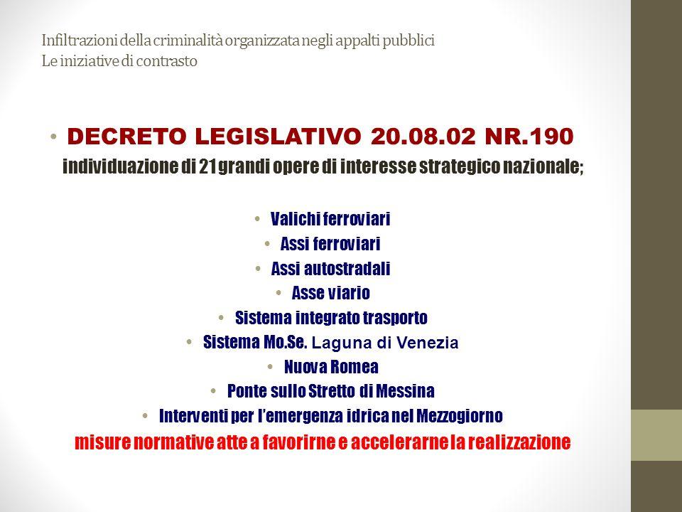 Infiltrazioni della criminalità organizzata negli appalti pubblici Le iniziative di contrasto Decreto Legislativo 6 settembre 2011, n.