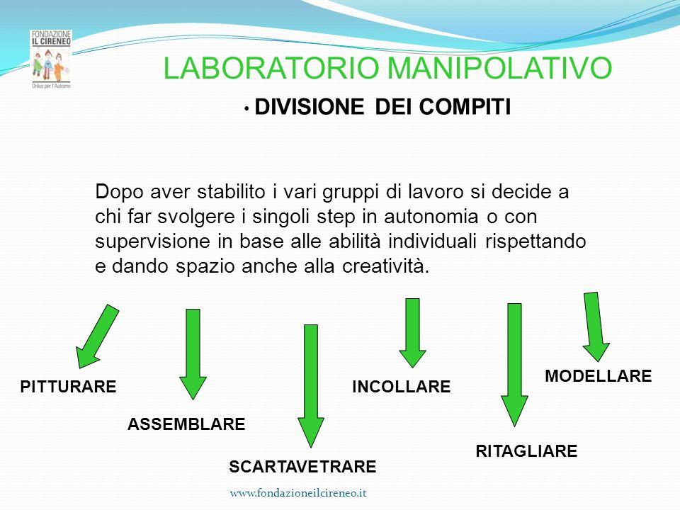 www.fondazioneilcireneo.it DIVISIONE DEI COMPITI Dopo aver stabilito i vari gruppi di lavoro si decide a chi far svolgere i singoli step in autonomia