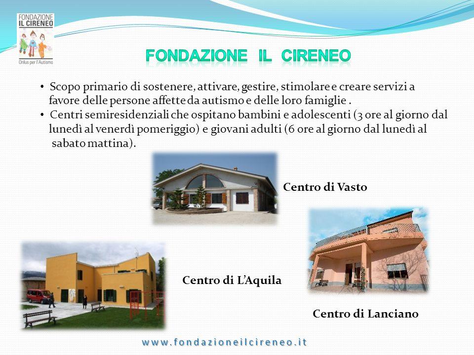 www.fondazioneilcireneo.it Centro di Vasto Centro di LAquila Centro di Lanciano