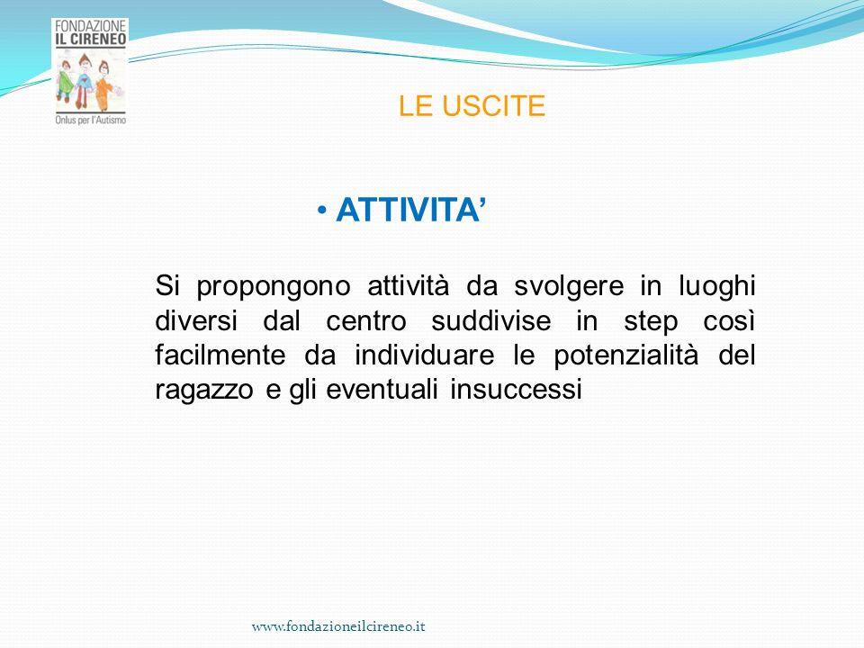 www.fondazioneilcireneo.it LE USCITE ATTIVITA Si propongono attività da svolgere in luoghi diversi dal centro suddivise in step così facilmente da ind