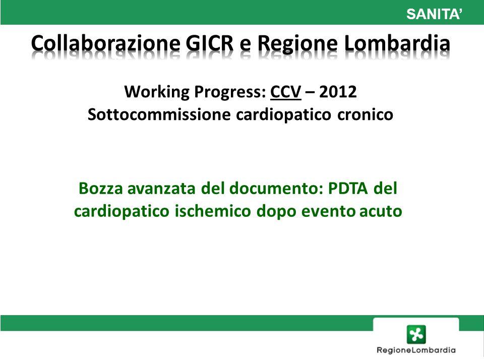 SANITA Working Progress: CCV – 2012 Sottocommissione cardiopatico cronico Bozza avanzata del documento: PDTA del cardiopatico ischemico dopo evento ac