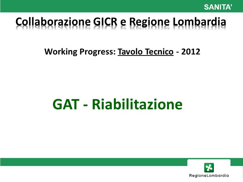 SANITA Working Progress: Tavolo Tecnico - 2012 GAT - Riabilitazione