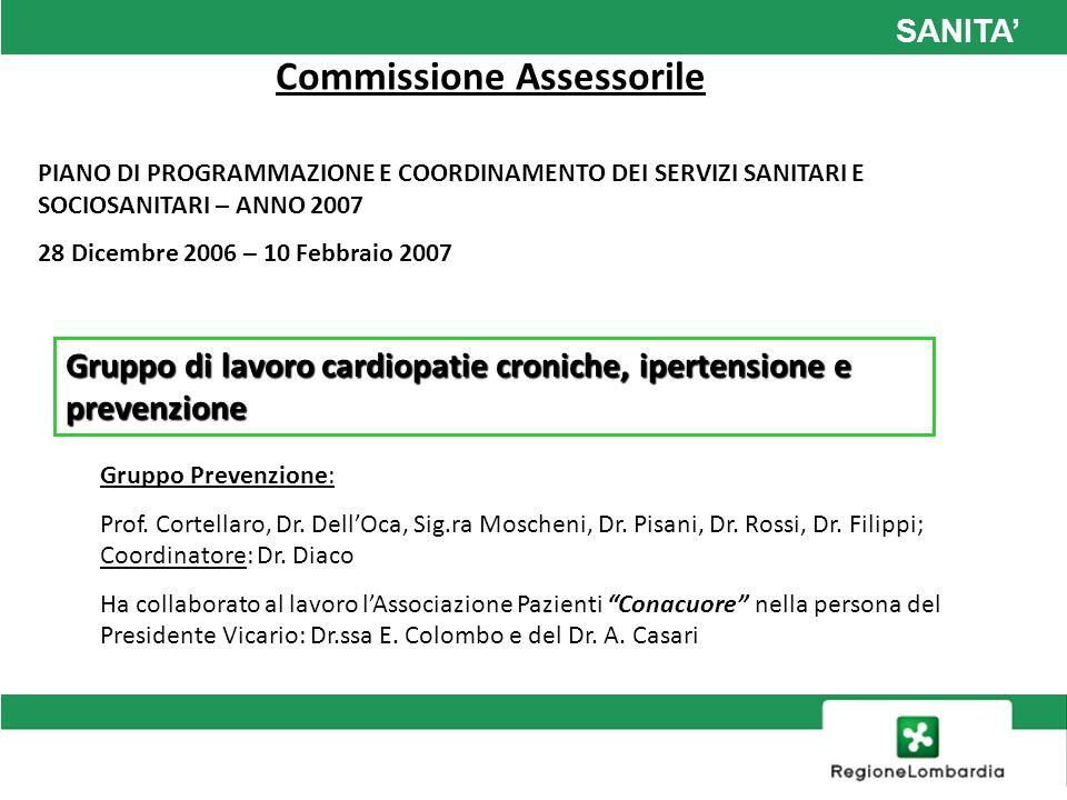 SANITA Commissione Assessorile PIANO DI PROGRAMMAZIONE E COORDINAMENTO DEI SERVIZI SANITARI E SOCIOSANITARI – ANNO 2007 28 Dicembre 2006 – 10 Febbraio