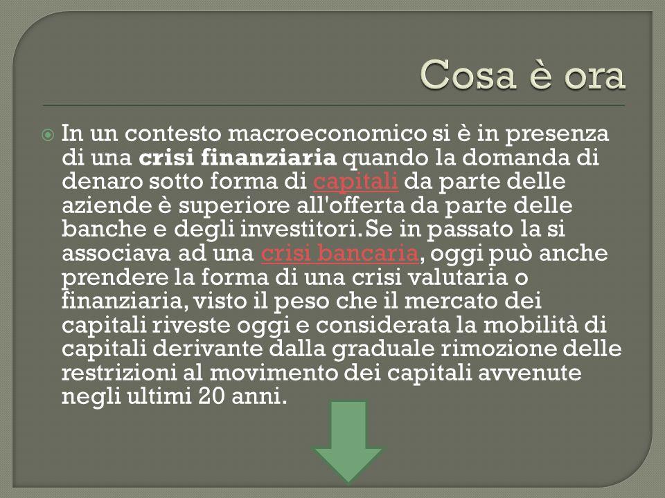In un contesto macroeconomico si è in presenza di una crisi finanziaria quando la domanda di denaro sotto forma di capitali da parte delle aziende è superiore all offerta da parte delle banche e degli investitori.