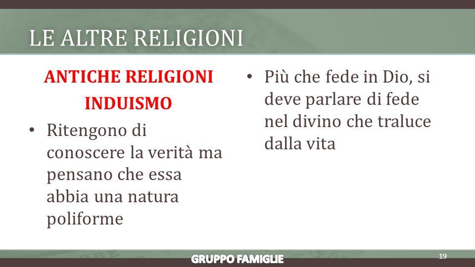 LE ALTRE RELIGIONILE ALTRE RELIGIONI ANTICHE RELIGIONI INDUISMO Ritengono di conoscere la verità ma pensano che essa abbia una natura poliforme Più che fede in Dio, si deve parlare di fede nel divino che traluce dalla vita 19