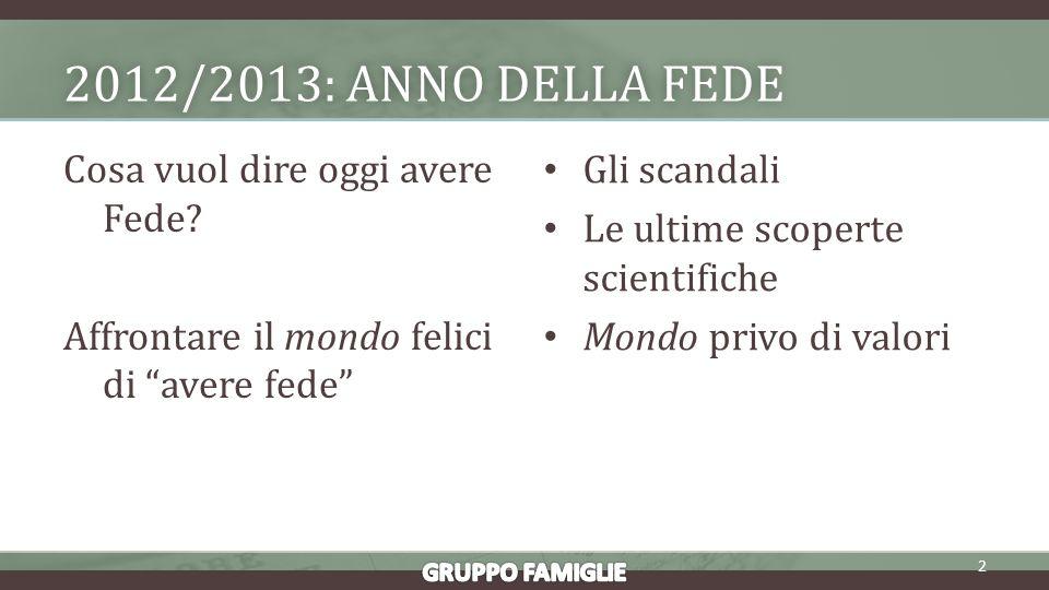 2012/2013: ANNO DELLA FEDE2012/2013: ANNO DELLA FEDE Cosa vuol dire oggi avere Fede.