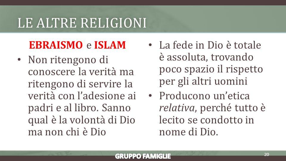 LE ALTRE RELIGIONILE ALTRE RELIGIONI EBRAISMO e ISLAM Non ritengono di conoscere la verità ma ritengono di servire la verità con ladesione ai padri e al libro.