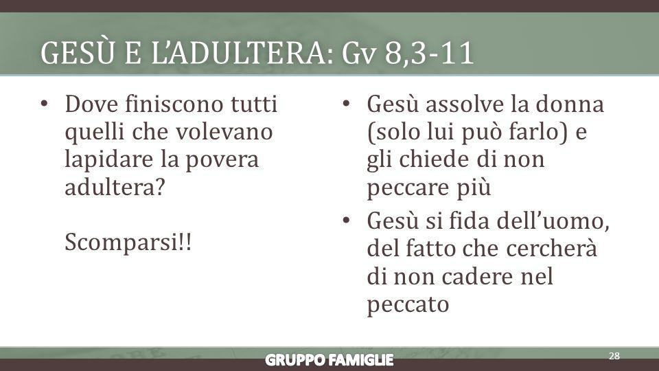 GESÙ E LADULTERA: Gv 8,3-11GESÙ E LADULTERA: Gv 8,3-11 Dove finiscono tutti quelli che volevano lapidare la povera adultera.