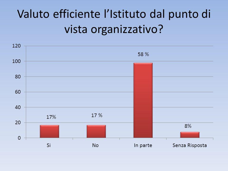 Valuto efficiente lIstituto dal punto di vista organizzativo 17 %