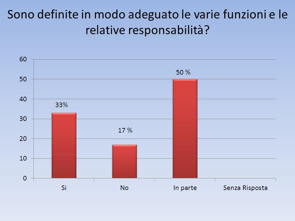 Sono definite in modo adeguato le varie funzioni e le relative responsabilità 17 % 33%