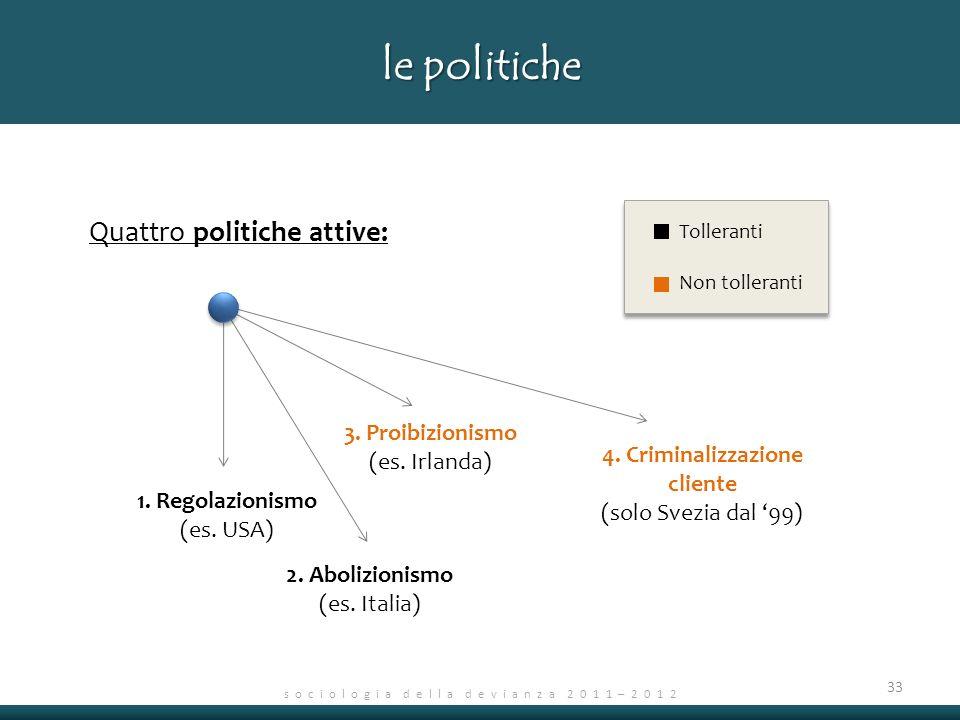 s o c i o l o g i a d e l l a d e v i a n z a 2 0 1 1 – 2 0 1 2 33 le politiche Quattro politiche attive: salute incolumità fisica 1.