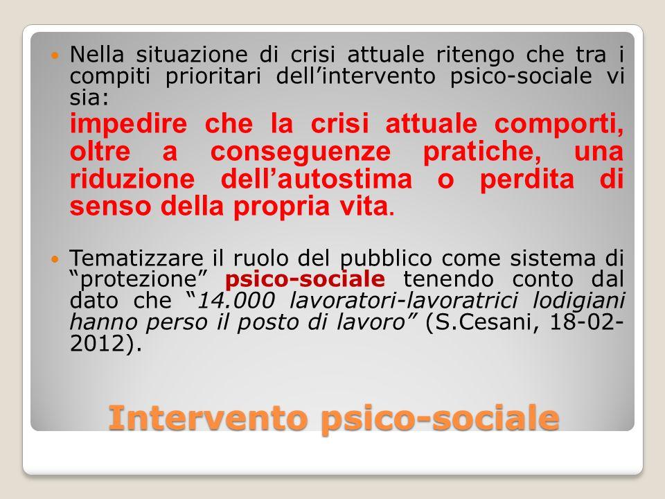 Intervento psico-sociale Nella situazione di crisi attuale ritengo che tra i compiti prioritari dellintervento psico-sociale vi sia: impedire che la c