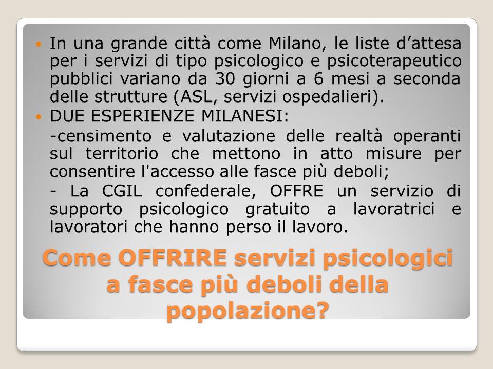 Come OFFRIRE servizi psicologici a fasce più deboli della popolazione? In una grande città come Milano, le liste dattesa per i servizi di tipo psicolo