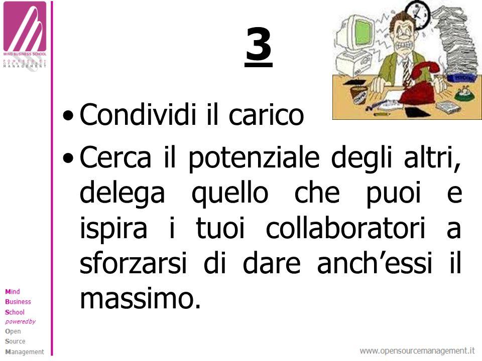 3 Condividi il carico Cerca il potenziale degli altri, delega quello che puoi e ispira i tuoi collaboratori a sforzarsi di dare anchessi il massimo.