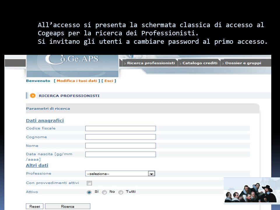 Allaccesso si presenta la schermata classica di accesso al Cogeaps per la ricerca dei Professionisti.
