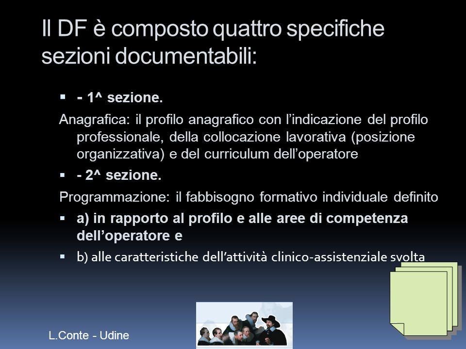 Il DF è composto quattro specifiche sezioni documentabili: - 1^ sezione.
