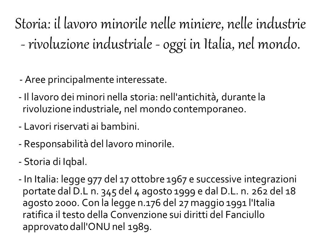 Storia: il lavoro minorile nelle miniere, nelle industrie - rivoluzione industriale - oggi in Italia, nel mondo. - Aree principalmente interessate. -