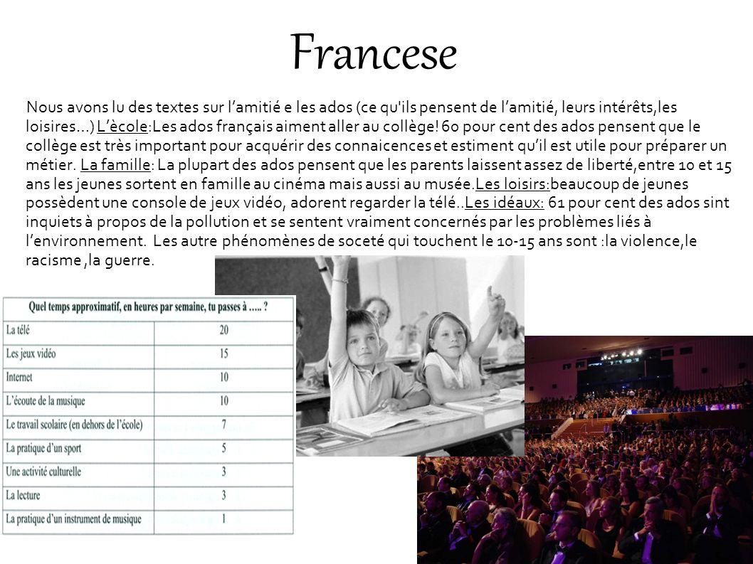 Francese Nous avons lu des textes sur lamitié e les ados (ce qu'ils pensent de lamitié, leurs intérêts,les loisires…) Lècole:Les ados français aiment