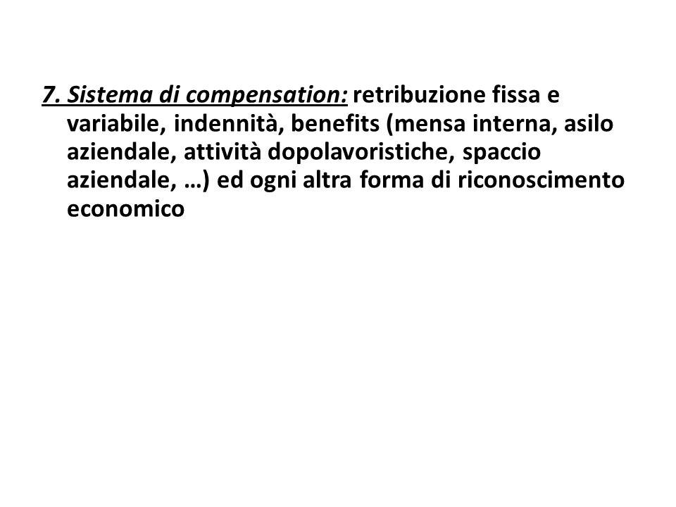 7. Sistema di compensation: retribuzione fissa e variabile, indennità, benefits (mensa interna, asilo aziendale, attività dopolavoristiche, spaccio az