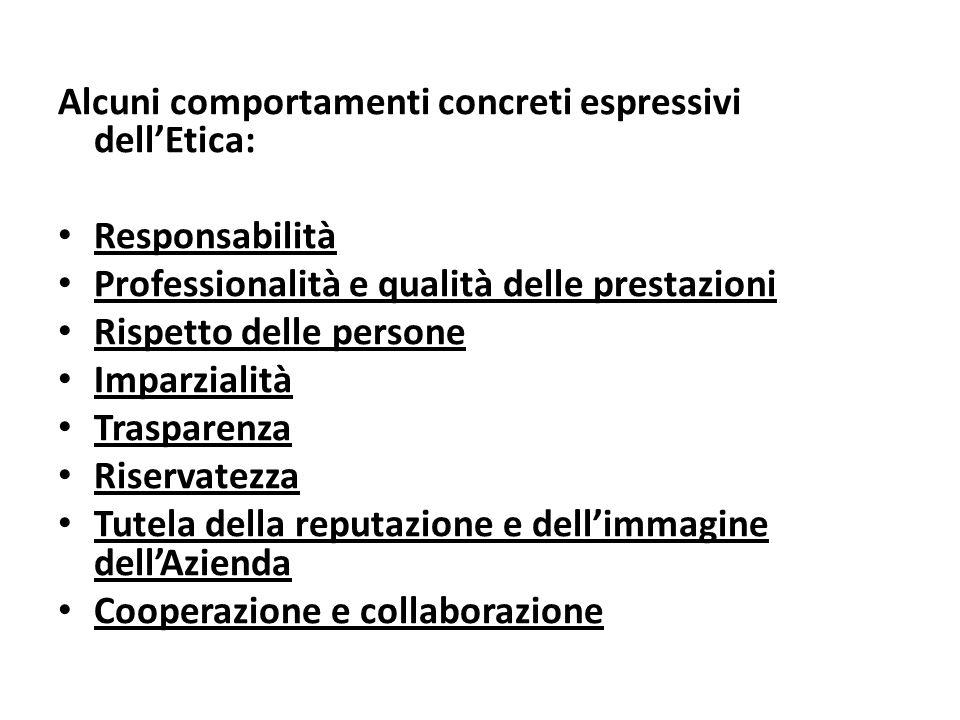 Alcuni comportamenti concreti espressivi dellEtica: Responsabilità Professionalità e qualità delle prestazioni Rispetto delle persone Imparzialità Tra