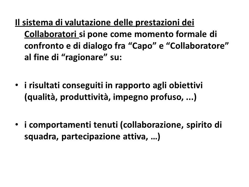 Il sistema di valutazione delle prestazioni dei Collaboratori si pone come momento formale di confronto e di dialogo fra Capo e Collaboratore al fine