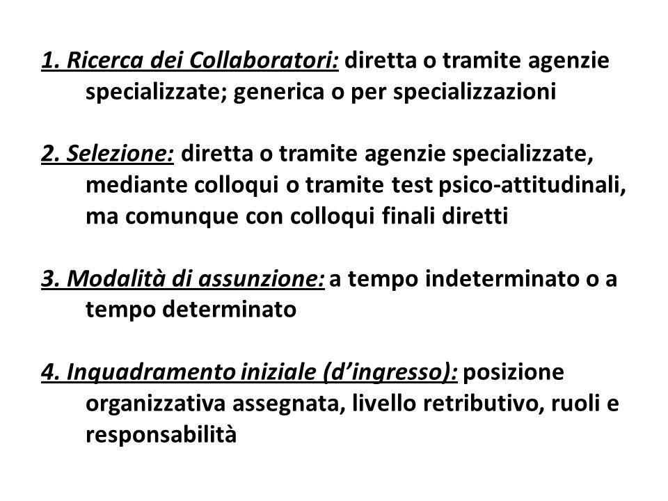 1. Ricerca dei Collaboratori: diretta o tramite agenzie specializzate; generica o per specializzazioni 2. Selezione: diretta o tramite agenzie special