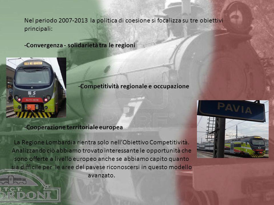 Nel periodo 2007-2013 la politica di coesione si focalizza su tre obiettivi principali: -Convergenza - solidarietà tra le regioni -Competitività regionale e occupazione -Cooperazione territoriale europea La Regione Lombardia rientra solo nellObiettivo Competitività.