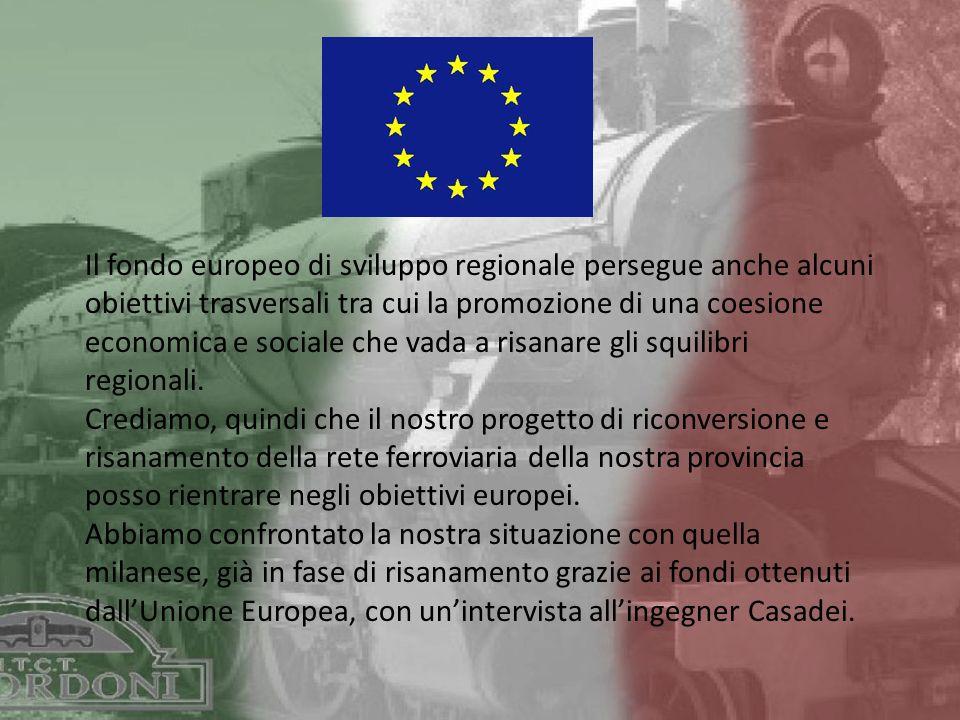Il fondo europeo di sviluppo regionale persegue anche alcuni obiettivi trasversali tra cui la promozione di una coesione economica e sociale che vada a risanare gli squilibri regionali.