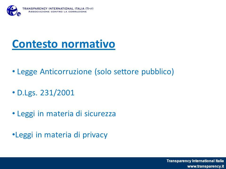 Transparency International Italia www.transparency.it Contesto normativo Legge Anticorruzione (solo settore pubblico) D.Lgs. 231/2001 Leggi in materia