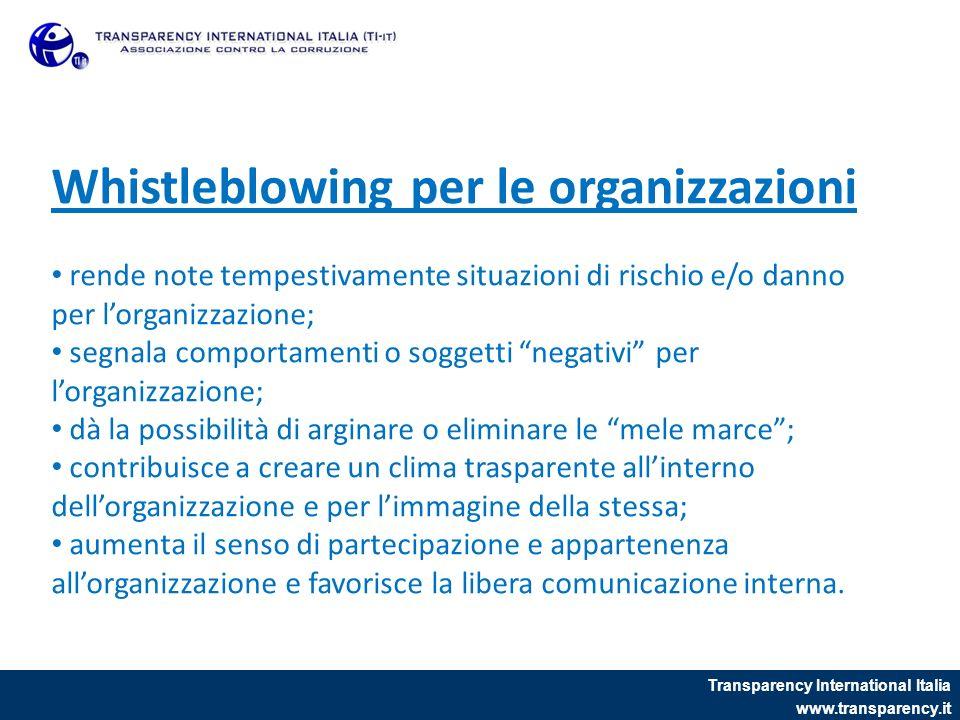 Transparency International Italia www.transparency.it Whistleblowing per le organizzazioni rende note tempestivamente situazioni di rischio e/o danno