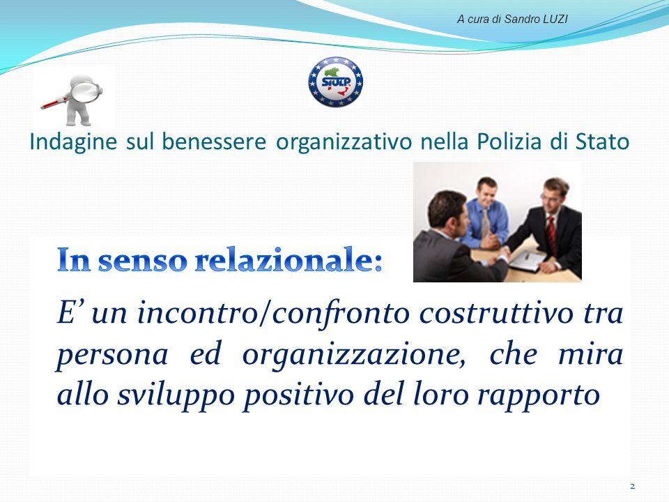 Indagine sul benessere organizzativo nella Polizia di Stato 2 A cura di Sandro LUZI