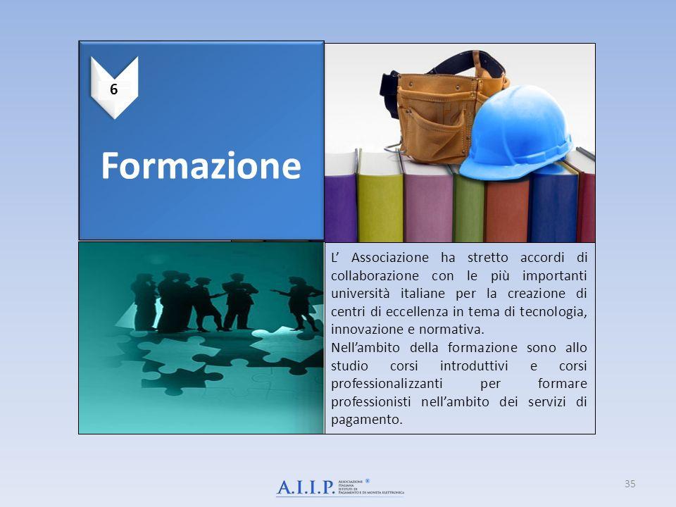 Formazione L Associazione ha stretto accordi di collaborazione con le più importanti università italiane per la creazione di centri di eccellenza in tema di tecnologia, innovazione e normativa.