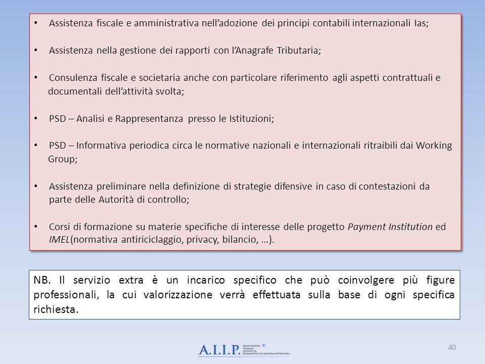 40 Assistenza fiscale e amministrativa nelladozione dei principi contabili internazionali Ias; Assistenza nella gestione dei rapporti con lAnagrafe Tr