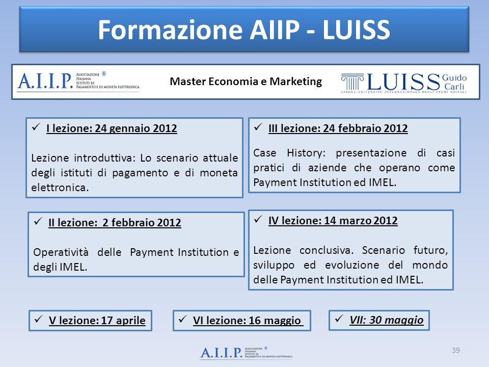 39 Formazione AIIP - LUISS Master Economia e Marketing I lezione: 24 gennaio 2012 Lezione introduttiva: Lo scenario attuale degli istituti di pagamento e di moneta elettronica.